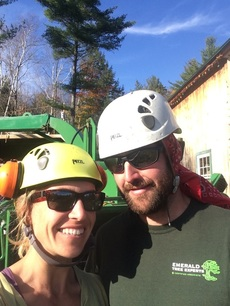 Lead arborist, Sean (r) with partner and assistant Kat (l)